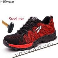 Воздухопроницаемая сетчатая уличная Мужская Рабочая обувь со стальным носком, мужские армейские защитные ботинки, обувь
