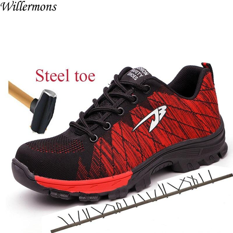 Zapatos de trabajo de acero de construcción Industrial y transpirable de malla para hombre, botas de seguridad militares para hombres, a prueba de pinchazos