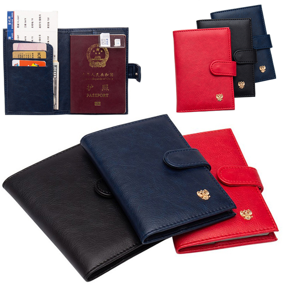 Travel Russian Pattern Business Passport Cover Documents Card Credit Holder Leather Hasp Card Bags Auto Driver License Bag Cover