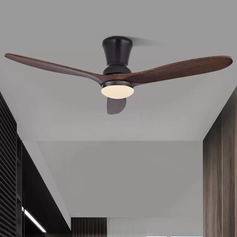 Ceiling Fan Lights Remote Control Wood Office Dining Room Bedroom Living Fan Lamps Lightings Fan Lights Home Fixture Leather Bag