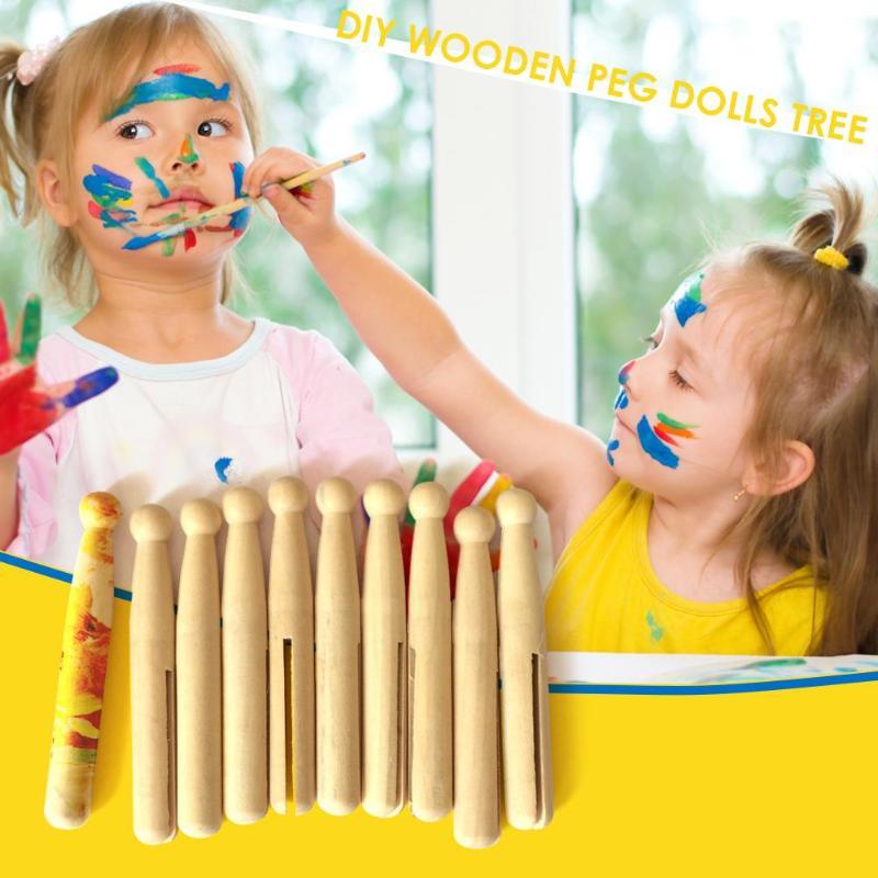10pcs Wood DIY Craft Toys Wooden Peg Dolls Wedding Cake Decoration Crafts Kids DIY Painted Dolls Toys