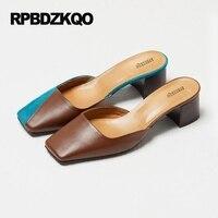 Elegant Size 33 Chunky Plus Ladies Sandals Small Pumps Mules Slipper Slingback Shoes Square Toe Multi