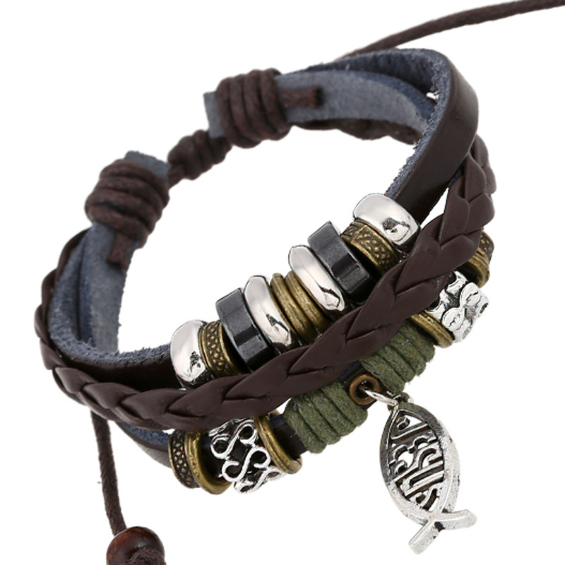 Vintage Cowhide Beads Fish Friendship Bracelets Multilayer Cuff Braclets For Male Female Pulceras Mujer Hombre Gifts