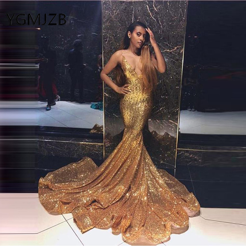gala jurken 2019 Sparkly Gold Sequined Mermaid Prom Dresses Long V Neck Sexy Backless African Women Formal Evening Party Dress