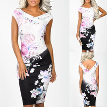 2019 Top Fashion Women Sheath Sleeveless Print Dress V Neck Power Trip Multi Floral Print Party Evening Bodycon Midi Dress floral print halter sheath dress