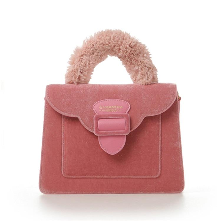 17 Christmas limited velvet suede handbag Samantha Vega plush handle organ shoulder bag Retro small flap square Messenger bag 14