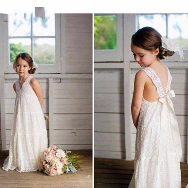 728326d56 Romantic V-neck Summer Boho Flower Girls Dresses Floor Length Vintage Maxi  Ivory Lace Flower