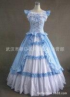 Floor length blue Cotton Aristocrat Gothic Lolita Dress