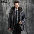 Marton Men's Down Jacket Winter Long Big Fox Fur Collar Down Coat Thick Business Long Jacket White Goose Brand Clothing