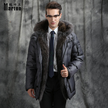 Marton Men's Down Jacket Winter Long Big Fox Fur Collar Down Coat Thick Business Long Jacket White Goose Brand Clothing
