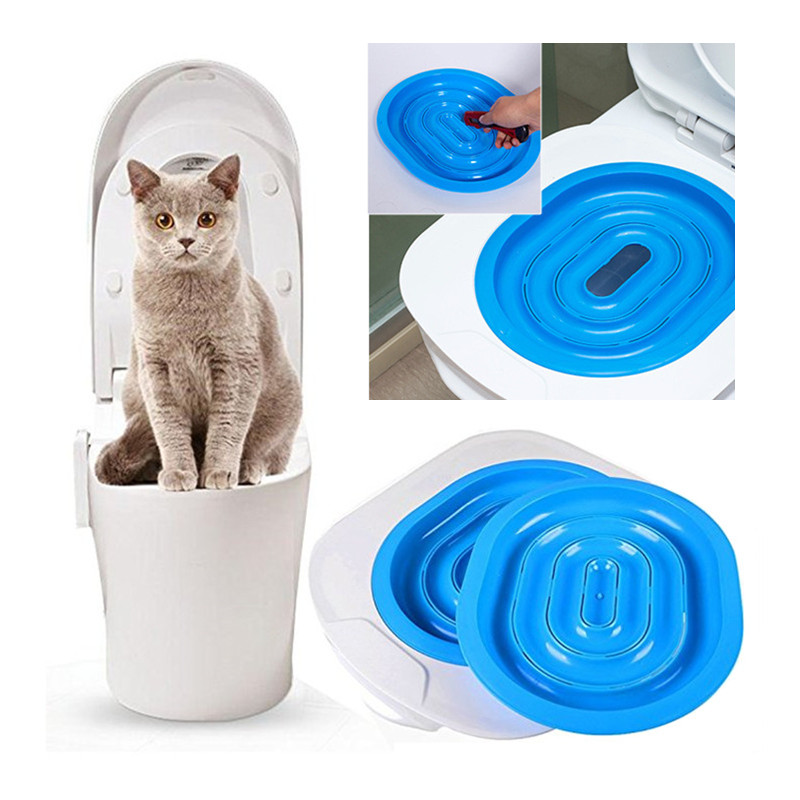 Hot Sale Plastic Cat Toilet Training Kit Litter Box Puppy Cat Litter Mat Cat Toilet Trainer Toilet Pet Cleaning Training Supply ...