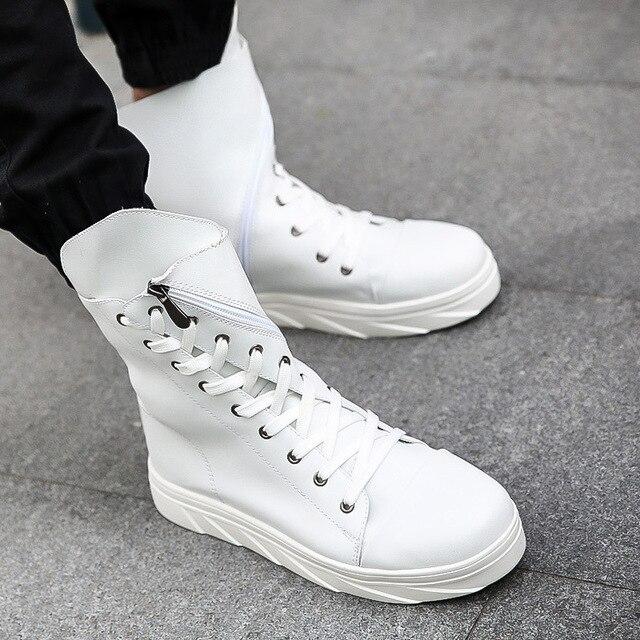 Quality Men Leather Shoes 2017 Winter High Top Solid Lace-up Design Men Shoes Hip Hop Mens Joggers Zapatillas Homme