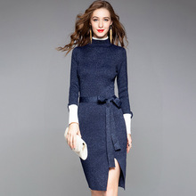 2019 Comfortable brand high-end spring and autumn womens dress fashion stitching knit bag hip half-high collar ladies clothes