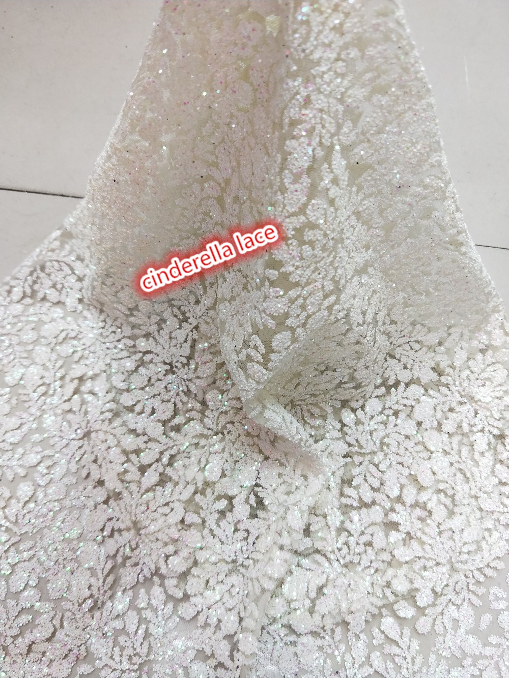 Latest pattern 5yards French net tulle lace fabric Hot sale JIANXI C 322103 glued glitter with