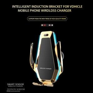 Image 2 - אוטומטי מהדק רכב מטען אלחוטי עם Flowable אור עבור Huawei P30Pro Iphone11 XR XS XS מקס צ י 10W מהיר טעינה מחזיק