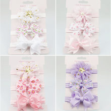 Faixa de cabeça para crianças, tiara para meninas com laço, elástico, multicolor, infantil, faixa de cabeça, festa, feminino