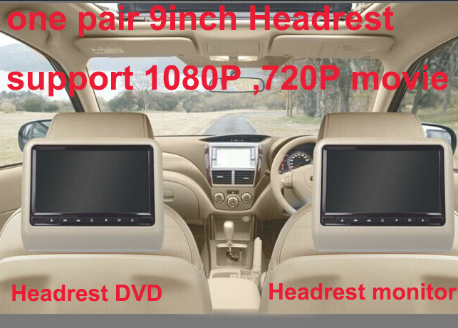 Free shipping one pair 9 inch car headrest DVD player with USB/SD,Bracket,HDMI,32 bits Game,IR,FM,HD screen,1PC DVD+1PC monitor eincar car 9 inch car dvd pillow headrest two monitor lcd screen usb sd 32 bit game fm ir multimedia player free 2 ir headphones