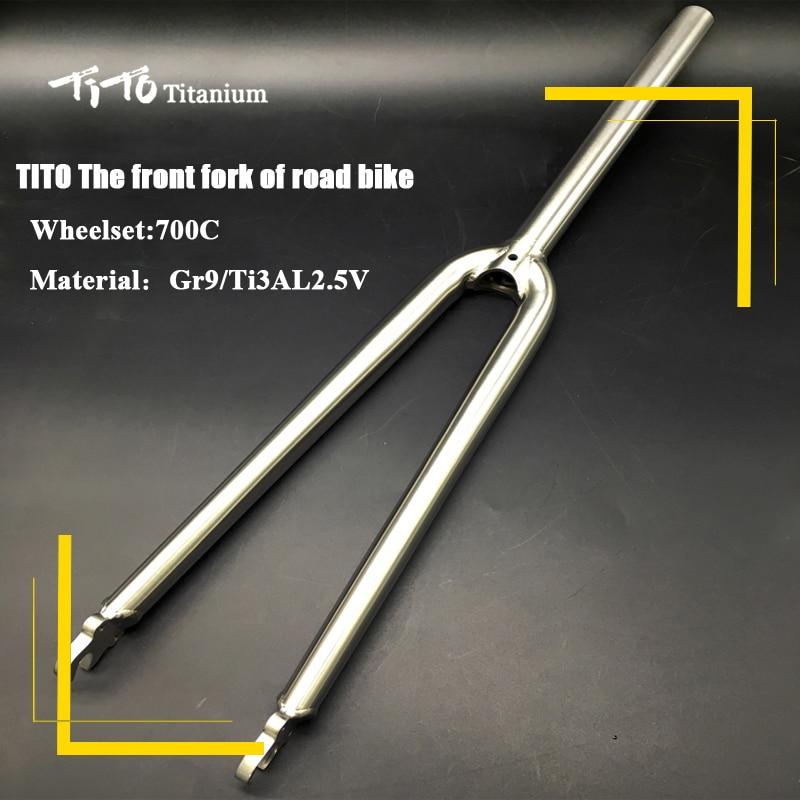 TiTo Gr.9 Titanium alloy road bike front fork 700C 3AL/2.5V Bicycle Fork