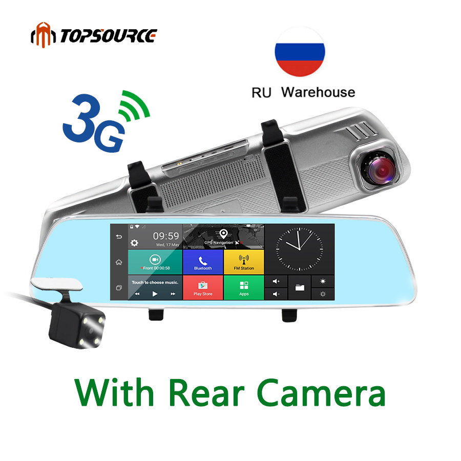 TOPSOURCE 7 3G Car Mirrror GPS Camera DVR  WCDMA Android 5.0 Bluetooth FM WIFI Dual Lens rearview mirror Camcorder Dash cam