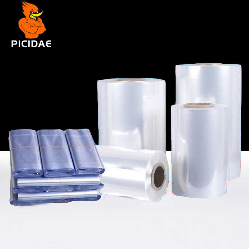 PVC Heat Shrinkable Film Reel Transparent Double Layer Plastic Cylindrical Packaging Bag Daily Necessities Drug Cosmetic Food
