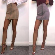 c1666192238 Модная Женская высокая талия из искусственной замши на молнии карандаш  тощий тонкий короткий сексуальный мини-юбка 2018 Новая ле.