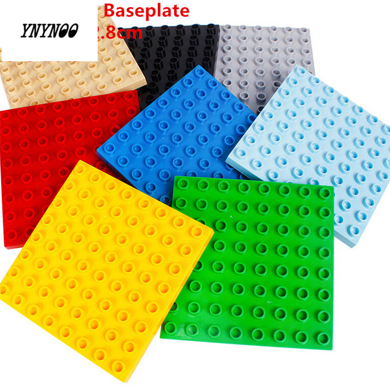 YNYNOO 1pcs Big Blocks Base Plate 8*8 dots Baseplate 100% Compatible with Duploe Kids Educational Brick Toys Blocks Plate 1pc 24 17 dots big building blocks baseplate 38 27cm bricks base plate compatible with duploe kids diy toys