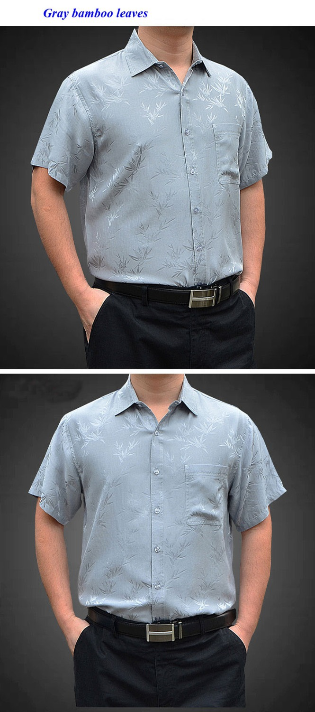 100% natural silk short sleeve shirt men,pure silk business casual plaid shirts,100% silk turn down collar men shirt - 4