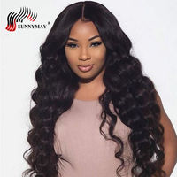 Sunnymay Loose Wave Full Lace Human Hair Wigs Brazilian Virgin Hair Pre Plucked With Baby Hair For Women