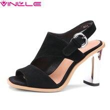 VINLLE 2017 Bombas de Las Mujeres de Boda Del Dedo Del Pie Cuadrado de Cuero Genuino de Las Mujeres resbalón de los zapatos de Verano Zapatos de Tacón Alto Gruesas Bombas de Tamaño 34-39