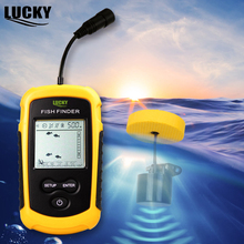 Lucky FF1108-1 Portable Fish Finder Russian manual Sonar Sounder Alarm 0.7-100M Transducer for Winter Ice Boating Fishing CarpC3