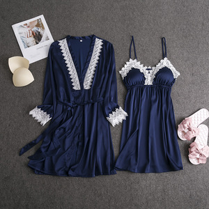 Image 2 - Marka fiklyc 2019 wiosna nowy nabytek sztuczny jedwab szlafrok + koszula nocna dwa kawałki szata i suknia zestaw z wyściełana klatka piersiowa koronki patchwork