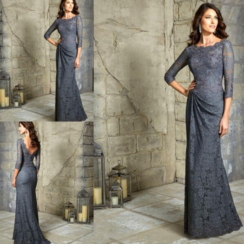 Women Evening Gown Plus Size 3/4 Sleeves Lace Mother Of The Bride Dresses For Wedding Party