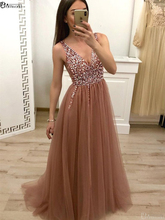 Champagne Prom Dress Long Evening Gowns A Line V Neck Cross Back Sequins Beaded Tulle Sexy Dresses robe soiree dubai