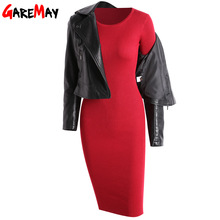 GAREMAY Women Long Knitted Dress Long Sleeve Bodycon Dresses For Women Tunics Work Wear Robe Pull