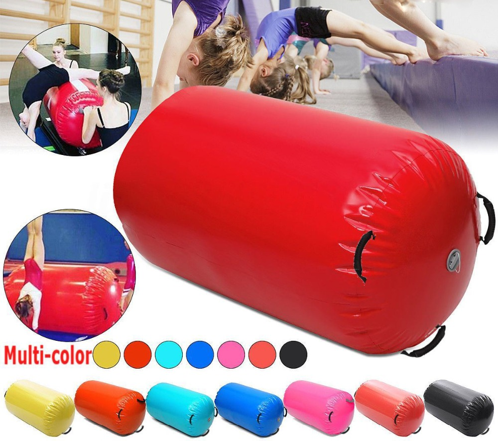 Free shipping 120x60cm Fitness Inflatable Air Roller Home Large Yoga Gymnastics Cylinder Gym Mat Beam Hot
