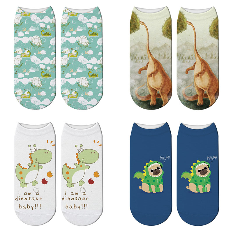 New 3D Printed Cartoon Dinosaur Short Socks Summer Women Kawii Jurassic Tyrannosaurus Short Ankle Socks Calcetines Mujer
