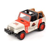 Cheap kids toys 1/32 Alloy Diecast Jeep Wrangler dinosaur park car Scale Orange/White model Children Gift