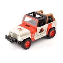 цены на Cheap kids toys 1/32 Alloy Diecast Jeep Wrangler dinosaur park car 1/32 Scale Orange/White Diecast car model toys Children Gift  в интернет-магазинах