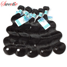 Sweetie Hair Brazilian Body Wave Bundles Human Hair Weave Bundles Natural Color Hair Can Buy 3 or 4 pcs Non Remy Hair Extensions(China)