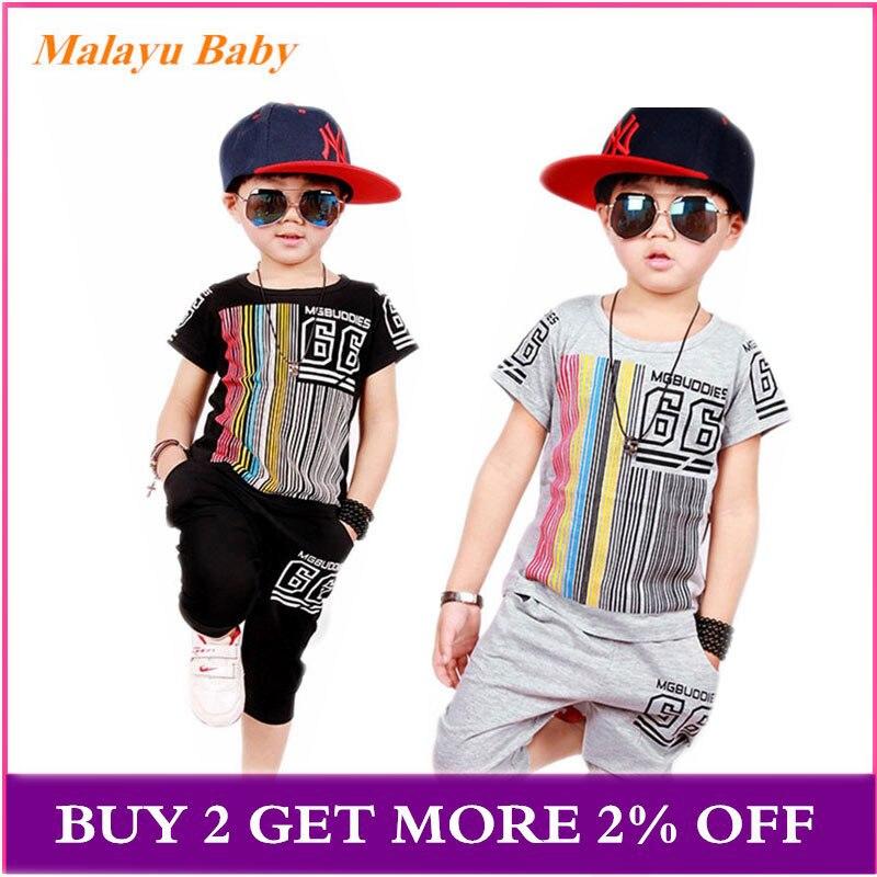 Bébé garçon vêtements ensemble 2019 été nouveau garçon rayé lettres à manches courtes T-shirt + Shorts pantalons 2 pièces décontracté vêtements pour enfants