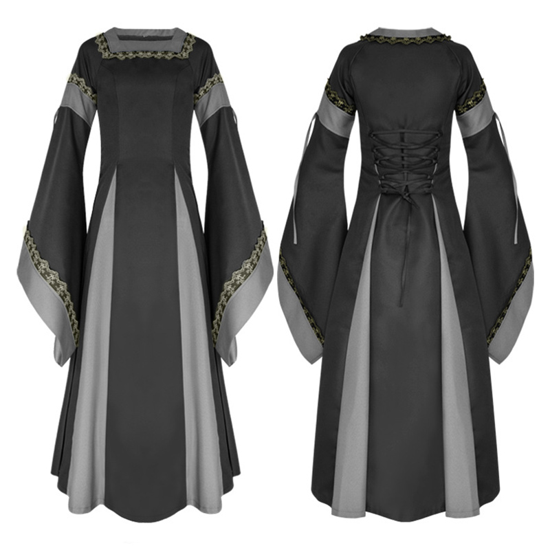 Adult Women Medieval Costume Long Gown Dress Victorian Long Sleeve Square Collar Back Lacing Wedding Clothes For Halloween Ball