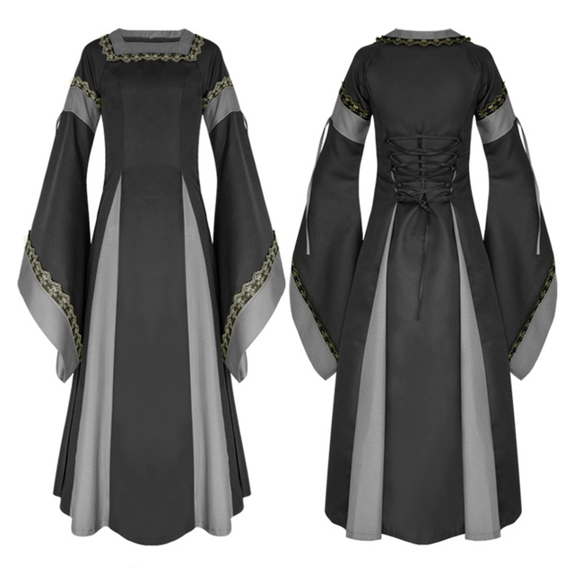 6dbc504fc9 Adult Women Medieval Costume Long Gown Dress Victorian Long Sleeve Square  Collar Back Lacing Wedding Clothes For Halloween Ball