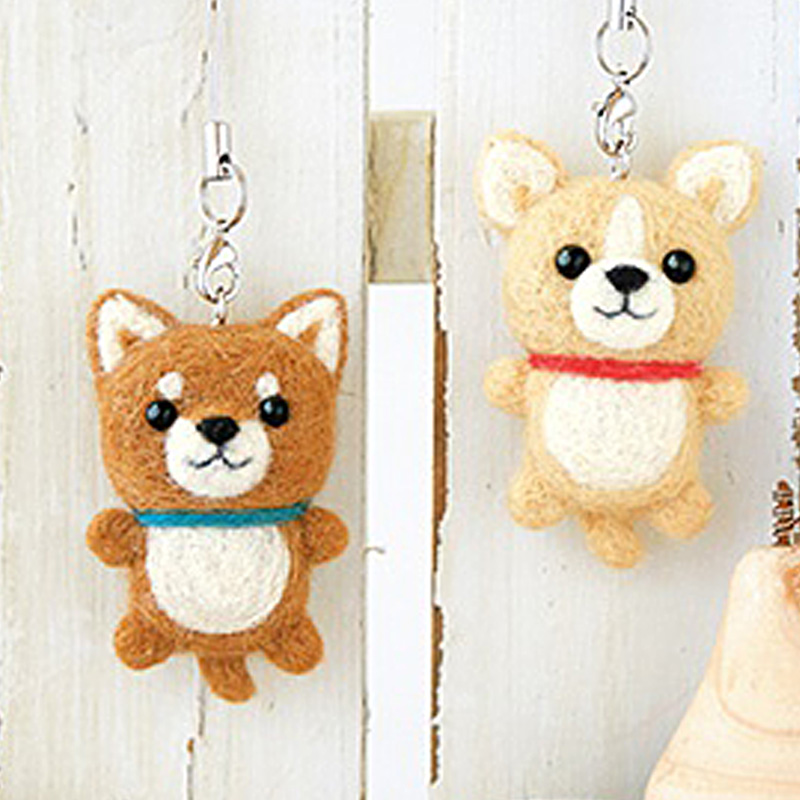 2019 Creative Cute Shiba Inu Dog Pet Toy Doll Wool Felt Poked Kitting Non-Finished Handcarft Wool Felting Material Package