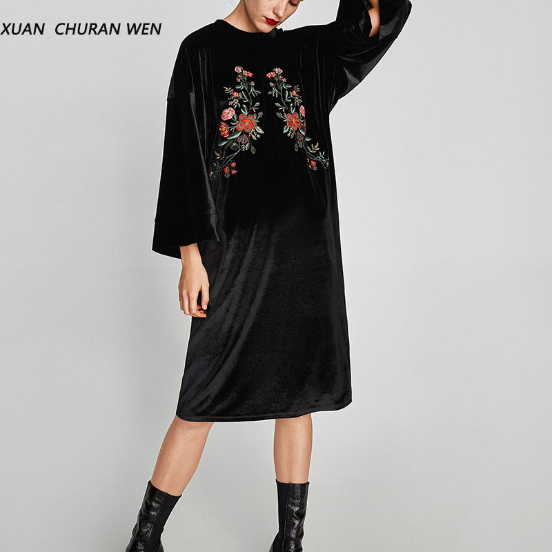 XUANCHURANWEN New Women Autumn Black Velvet Dress Long Sleeve Knee Length Party Dress Embroidery Loose Casual