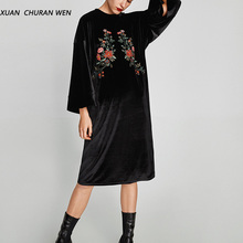 XUANCHURANWEN New Women Autumn Black Velvet Dress Long Sleeve Knee Length Party Dress Embroidery Loose Casual XL1084