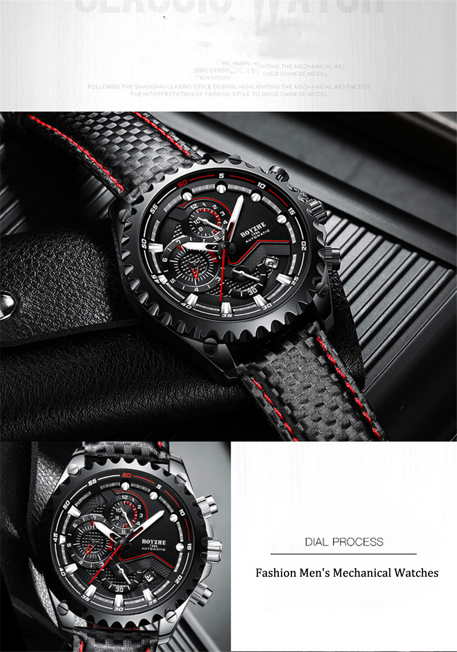 Relogio Masculino Fashion Gear Texture Design Dial Luxury Brand Leather  Watch Automatic Men Wristwatch Men Mechanical Watches Watches Online  Skeleton
