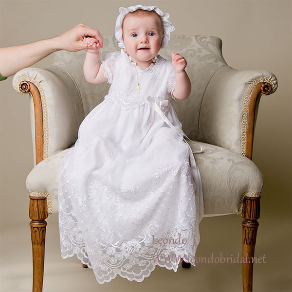 ZQ 1 Lovely long baptism dress A Line O Neck white baptism gown ...