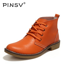 PINSV Autumn Women Boots Genuine Leather Ankle Boot