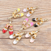 2 Pcs DIY Fashion Charms Gifts Enamels Rhinestone Ballet Shoes Alloy  Pendant Making Hair Bracelet Necklace Jewelry Accessories 74dafeaeb9aa