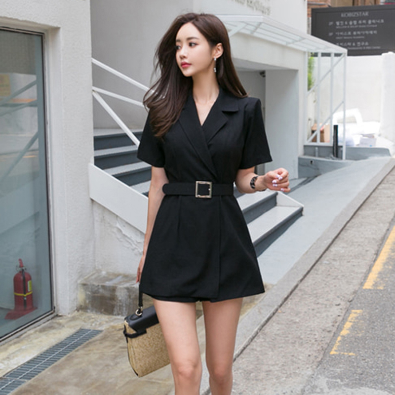 BGTEEVER Casual Summer Solid Playsuit for Women Rompers Notched Sashes Playsuits Fashion Work Business Short Jumpsuit